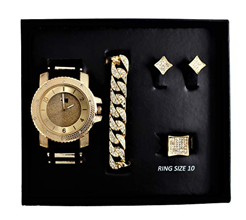 Bling-ed Out It's Lit! Hip Hop Watch & Jewerly Set w/Cuban Chain, Gold, Size 2.0 from Charles Raymond