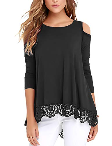 RAGEMALL Womens Cold Shoulder Tops Long Sleeve Lace Trim Tunic Blouse Tops for Women Black L