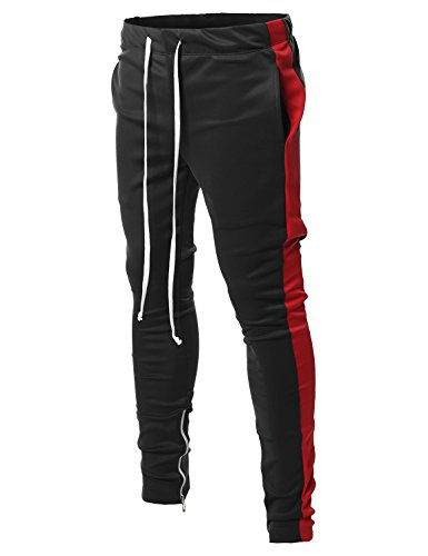 Style by William Side Panel Long Length Drawstring Ankle Zipper Track Pants Black Red - William Black
