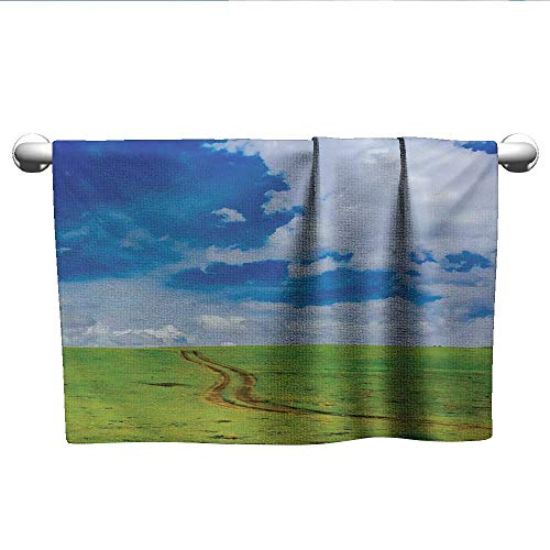 alisoso Country,Personalized Towels Earth Path Road on Grass Field Plateau Rural Countryside View with Clouds Image Print Beach Towels Blue W 14