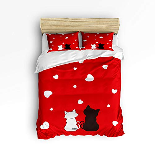 3 Piece Polyester Fabric Bedding Set with Zipper Closure Full Size, Black White Cat Back Love Heart Red Comforter Cover Set Duvet Cover with 2 Pillow Shams for Girls/Boys/Kids/Children/Teen/Adults