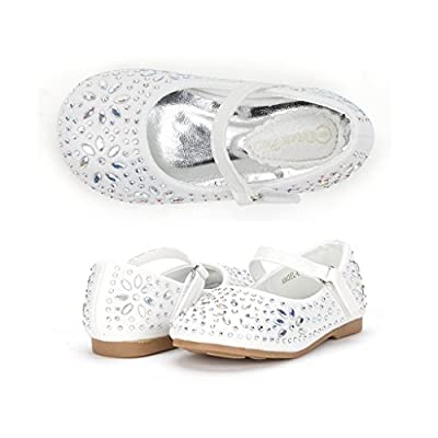 Dream Pairs ANGEL-66 Mary Jane Rhinestone Velcro Strap Ballerina Flat (Toddler/ Little Girl) New