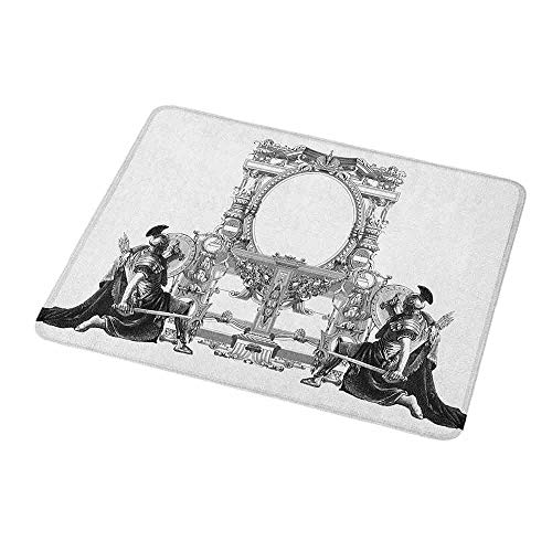 Rectangle Non-Slip Rubber Mouse Pad Victorian,Victorian Frame with a Gladiator Warrior Roman Headpiece Ancient Design,Black and White,Mousepad Great for Laptop,Computer 9.8