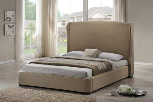 - Baxton Studio BBT6318-Beige-King Sheila Linen Modern Bed with Upholstered Headboard, King, Tan