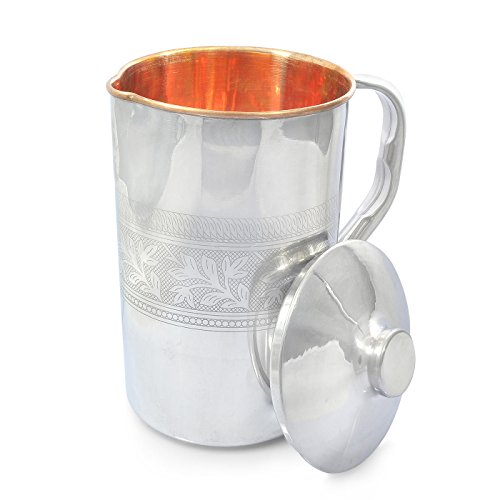 Dungri India Copper Jug Water Pitcher Outside Stainless Steel Utensils Inside Copper for Ayurveda Healing - Capacity 1.6 L / 54 Oz Embossed Style -