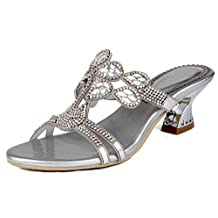 LizForm Women Rhinestone Decorated Slip On Heeled Sandal Flower Cutout Kitten Heels