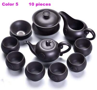 BeesClover Boutique Tea Set Purple Clay Tea Set Color 5 Over Eight-Piece Set One Size by BeesClover