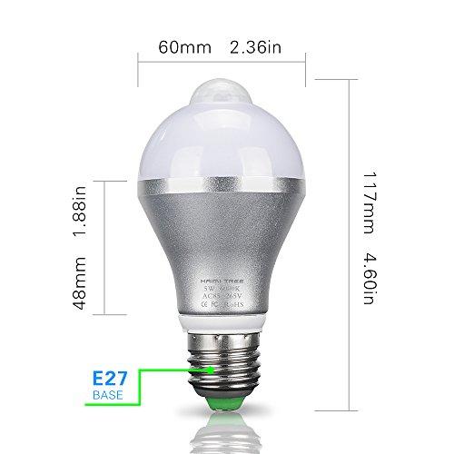 Motion Sensor Light Bulb,HAIMI TREE 5W E26/E27 Smart PIR LED