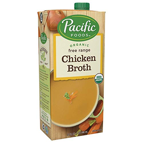 Pacific Foods Organic Free Range Chicken Broth, Low Sodium, 32oz, 12-pack
