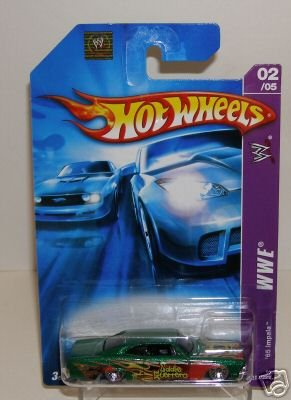 Mattel Hot Wheels 2006 WWE Series 1:64 Scale Die Cast Metal Car # 2 of 5 : Metallic Green Eddie Guerrero Full-Size Sedan 1965 Impala with Fun Facts (Wwe Facts)