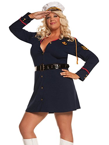 [Navy Officer Women Plus Size Costume 3 Piece Set Long Sleeve Mini Dress and Hat Sizes: 1X-2X] (Plus Size Sexy Sailor Costumes)