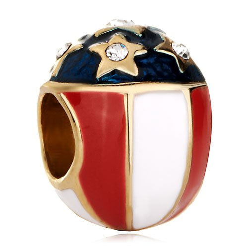 Pugster 22k Golden White Red Cream Shaped Below Sapphire Blue Stars European Faberge Egg Beads Fits Pandora Chamilia Biagi Charms ()