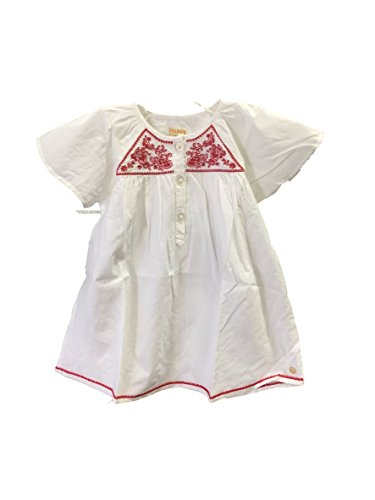 Pink Chicken Happy White with Red Embroidery Dress (2Y)