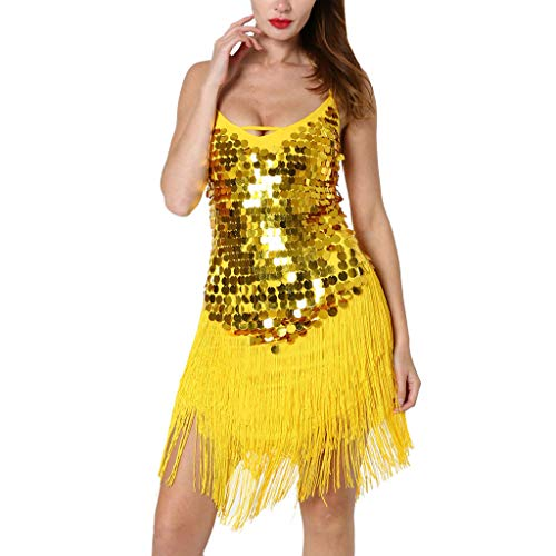Women Latin Dance Dress Sexy Halter Sequins Tassel Flapper Dress Vintage Belly Dance Costume Professional Dancing Suit Yellow -
