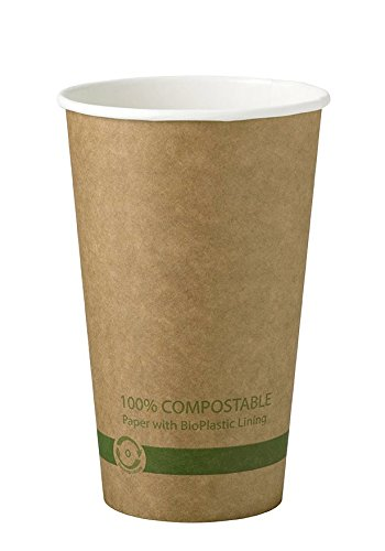 World Centric 100% Biodegradable, 100% Compostable Paper PLA-Lined 16 Ounce Kraft Coffee Cup (Package of 200)