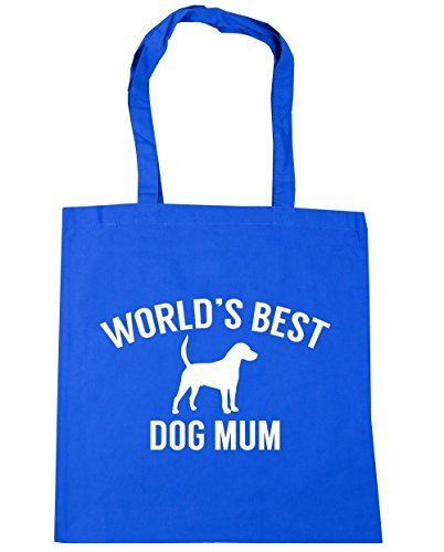 HippoWarehouse World's best dog mum Tote Shopping Gym Beach Bag 42cm x38cm, 10 litres Cornflower Blue