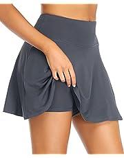 COOrun Tennis Skirts Skorts Pleated Active Shorts Stretch Waist Cheer Running Dress with Pockets
