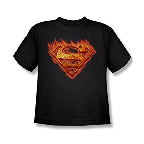 Superman - Hot Metal Shield Youth T-Shirt In Black, X-Large, (Hot Girl In Superman Shirt)