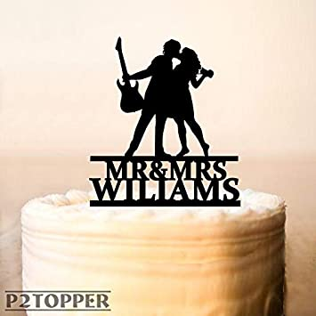 Guitar Player Cake Topper,Musician And Bride Photographer Silhouette