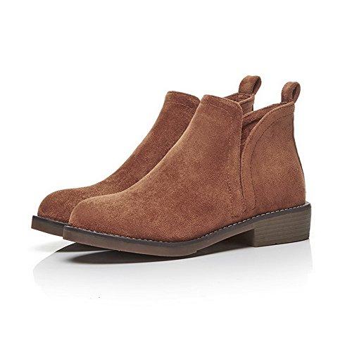 ABL10488 Seams Closure No Womens Boots Toe Round Suede Darkblue Frayed BalaMasa 6WznOxW