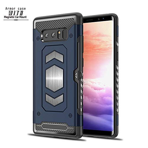 (Samsung Galaxy Note 8 Case Magnetic Dual Layer Card Slot Kick-Stand Armor Series Car Mount (Navy)