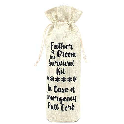 Perfect Gifts for Grooms Father and Father in law-Father of the Groom Survival kit Wine bottle bags Presents for Wedding-Cotton linen Drawstring Wine bags