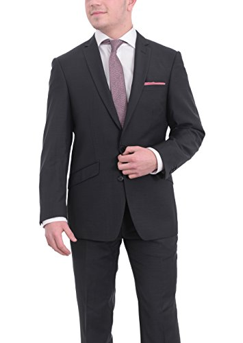 West End Simon Carter Slim Fit Navy Blue Check Two Button Wool Blend Suit (Check Wool 2 Button Suit)