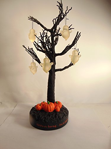 Hallmark Lighted Halloween Tree Includes 5 Ghost Ornaments ()