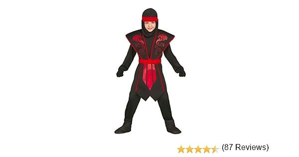 Guirca - Disfraz de ninja, para niños de 7-9 años, color negro ...