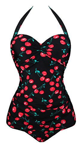 UniSweet Women Cherry Printed Underwired Monokini One Piece Halter Swimsuits Black,XL