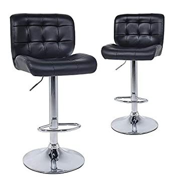 Wahson Counter Height Bar Stools set of 2 – Contemporary PU Leather Adjustable Swivel Barstool Chairs with Back Black