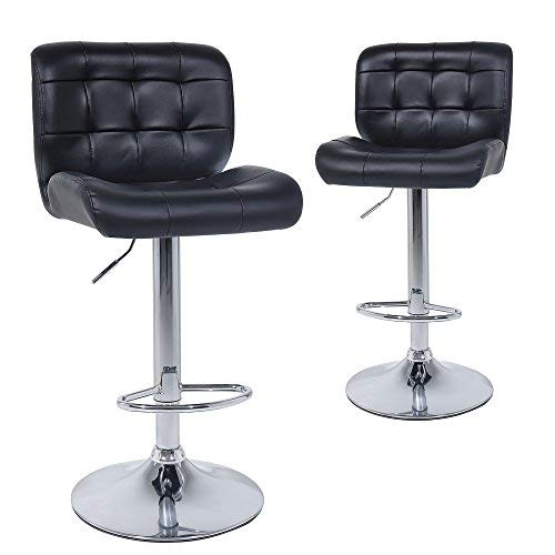 t Bar Stools set of 2 - Contemporary PU Leather Adjustable Swivel Barstool Chairs with Back (Black) ()
