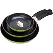 """Green Earth Frying Pan 3-Piece Set by Ozeri (8"""", 10"""", 12""""), with Textured Ceramic Non-Stick Coating from Germany (100% PTFE, PFOA and APEO Free)"""