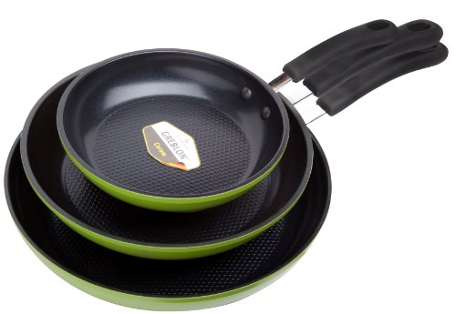 """Green Earth Frying Pan 3-Piece Set by Ozeri (8"""", 10"""", 12""""), with Textured Ceramic Non-Stick Coating from Germany..."""