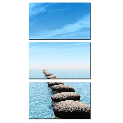 Kreative Arts - Zen Stone Canvas Wall Art Seascape Picture Prints Vertical Triptych Stretched on Wood Frame for Home and Office Decor Wall Hanging 12x20inchx3pcs (Art Long Wall)