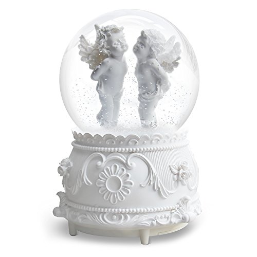 QTMY Musical Snow Globes Ornament Angel Cupid Music Boxes with Led Light Crystal Ball for Kids Girls