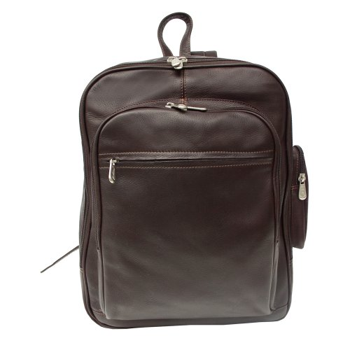 Piel Leather Front Pocket Computer Backpack, Chocolate, O...
