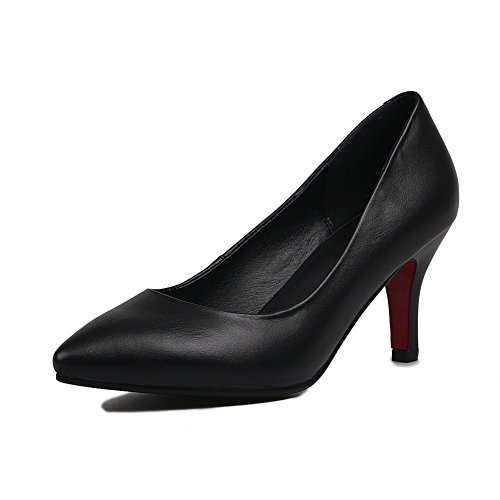 AdeeSu Womens Pointed-Toe Formal No-Closure Pleather Pumps Shoes SDC04322 Black CA8sonVdV