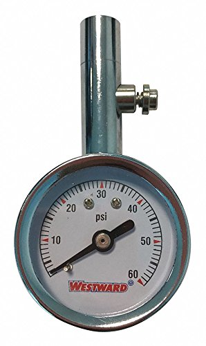 Westward Dial Tire Press Gauge, 0 to 60 psi Gages, Tire 2HKY6A - 1 Each