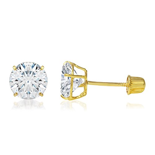 - Ioka - 14K Yellow Gold Round Solitaire Cubic Zirconia CZ Stud Screw Back Earrings - 1.25ct (7mm)