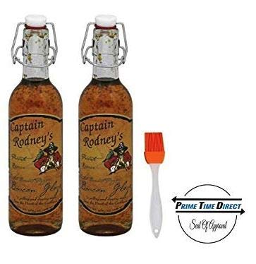 Captain Rodney's Boucan Pepper Glaze 13oz (Pack of 2) with Silicone Basting Brush in a Prime Time Direct Sealed Bag