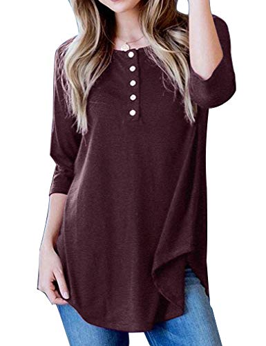 Kancystore Women's Casual 3/4 Sleeve Loose Fitting Swing Henley Tops Basic T Shirts(Wine Red,M) (3/4 Scoop Top Sleeve Neck)