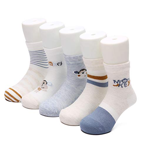 Ultra-Soft Toddler Socks for Baby Boys and Girls, Premium Thin Cotton Crew Socks for Spring and Summer, Pack of 5 (Monkey, 2-4 Years) ()