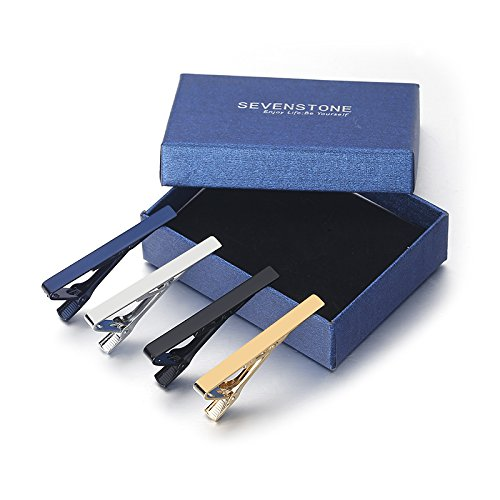 SEVENSTONE 8 Pcs Tie Clips for Men Father's Day Gift Set Ties Necktie Wedding Business Bar Clips by SEVENSTONE (Image #6)