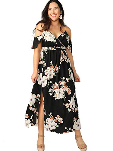 Milumia Women Plus Size Cold Shoulder Floral Maxi Bohemian Split Dress Black 2X