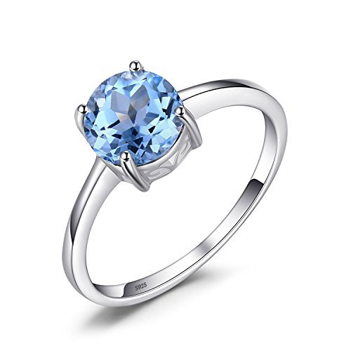 (JewelryPalace 1.6ct Natural Gemstones Birthstone Blue Topaz Solitaire Engagement Ring For Women For Girls 925 Sterling Silver Round Cut Size 7)