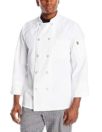 Chef Designs Men's Rk Ten Pearl Button Chef Coat, White, Small