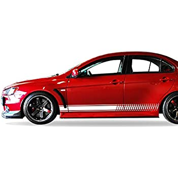 Bubbles Designs Set of Sport Side Stripes Decal Sticker Vinyl Compatible with Mitsubishi Lancer Evolution 10 X 2007 2010 2011 2015