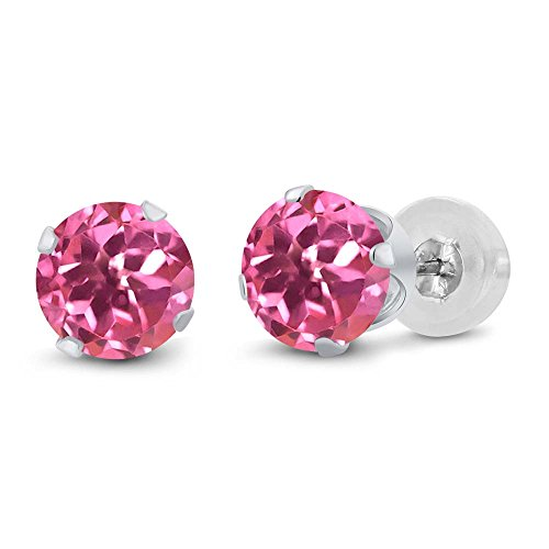 Gem Stone King 2.00 Ct Pink Mystic Topaz 10K White Gold Stud Women's Earrings 6mm