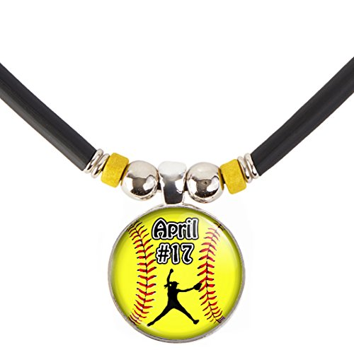 Softball Pitcher Charm Necklace- Girls and Women's Softball Pendant Jewelry - Customized Softball Necklace with Name and Number- Perfect for Softball Players, Softball moms, Softball Teams and Coaches